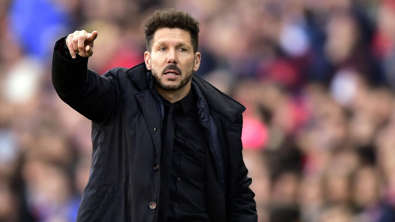 Despite more than 100 international appearances with the Albiceleste, the Atletico Madrid coach put on a rivals' kit for a kickabout with friends.