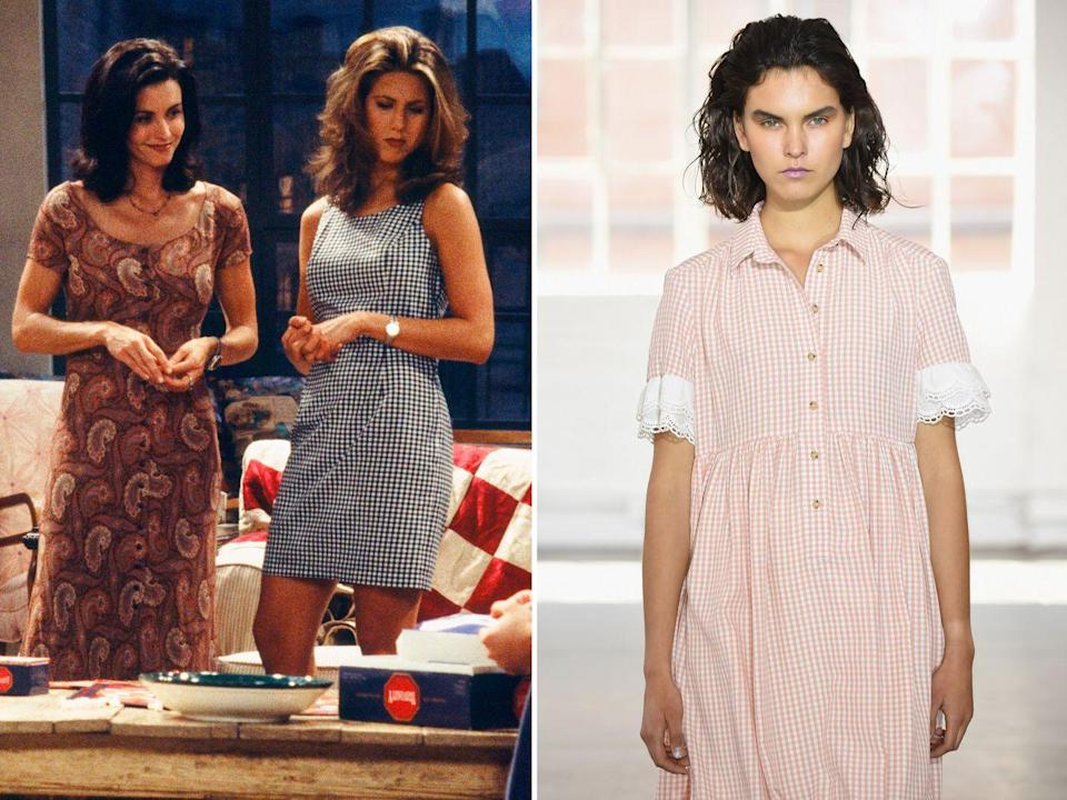 """<p><strong>The moment:</strong> Season 1, episode 3</p><p>Picnic prints made their comeback a few seasons back and have remained a strong contender for summer ever since. Rachel channelled the gingham school dress perfectly back in season one - here are <a href=""""https://www.harpersbazaar.com/uk/fashion/what-to-wear/g37705/gingham-fashion-trend/"""" rel=""""nofollow noopener"""" target=""""_blank"""" data-ylk=""""slk:10 ways to wear gingham the grown-up way"""" class=""""link rapid-noclick-resp"""">10 ways to wear gingham the grown-up way</a>.</p>"""