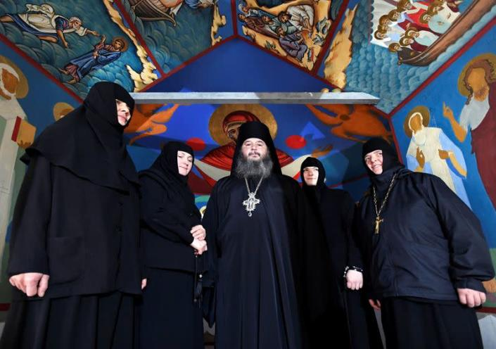 Father Abbot Abibos and his nuns are seen at the chapel of a mobile Georgian Orthodox monastery in Vlissingen