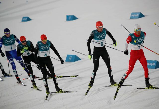 Nordic Combined Events - Pyeongchang 2018 Winter Olympics - Men's Individual 10 km Final - Alpensia Cross-Country Skiing Centre - Pyeongchang, South Korea - February 20, 2018 - Akito Watabe of Japan, Johannes Rydzek of Germany, Eric Frenzel of Germany, Fabian Riessle of Germany and Eero Hirvonen of Finland in action. REUTERS/Carlos Barria
