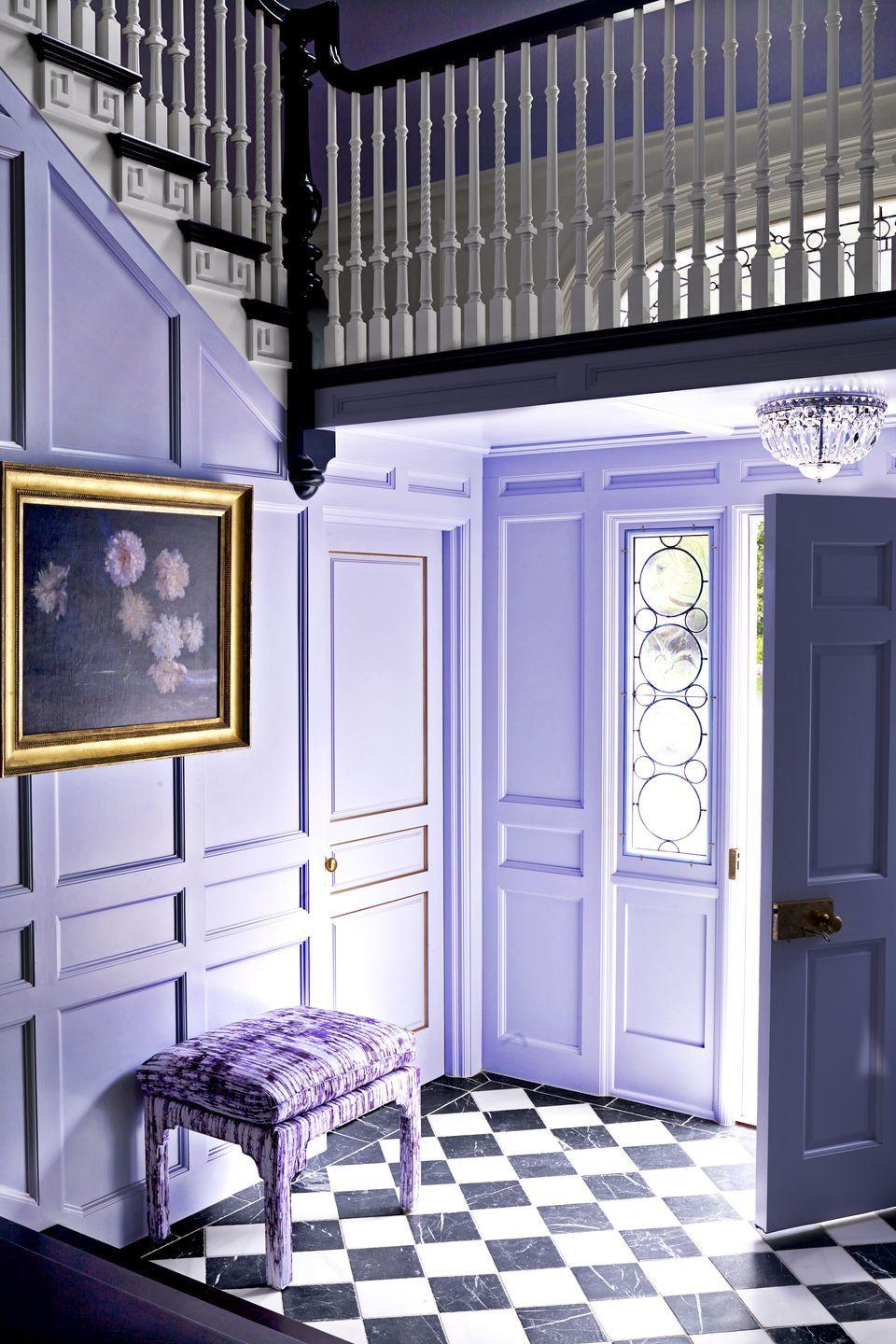 """<p>""""People underestimate the power of <a href=""""https://www.benjaminmoore.com/en-us/color-overview/find-your-color/color/2070-60/lavender-mist?color=2070-60"""" rel=""""nofollow noopener"""" target=""""_blank"""" data-ylk=""""slk:lavender"""" class=""""link rapid-noclick-resp"""">lavender</a>,"""" <a href=""""https://www.marymcgeeinteriors.com/"""" rel=""""nofollow noopener"""" target=""""_blank"""" data-ylk=""""slk:Mary McGee"""" class=""""link rapid-noclick-resp"""">Mary McGee</a> told <em><a href=""""http://www.housebeautiful.com/home-remodeling/interior-designers/interviews/a3415/mary-mcgee-interview/"""" rel=""""nofollow noopener"""" target=""""_blank"""" data-ylk=""""slk:House Beautiful"""" class=""""link rapid-noclick-resp"""">House Beautiful</a></em>. Pale orchid livens up this entryway's walls while keeping rooms light and airy.</p><p><a class=""""link rapid-noclick-resp"""" href=""""https://www.benjaminmoore.com/en-us/color-overview/find-your-color/color/2070-60/lavender-mist?color=2070-60"""" rel=""""nofollow noopener"""" target=""""_blank"""" data-ylk=""""slk:SHOP NOW"""">SHOP NOW</a></p>"""