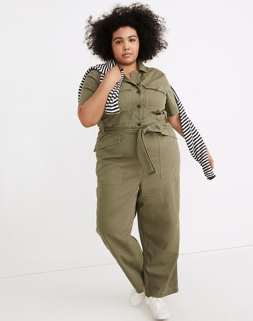 """<h2>Madewell Plus Tie-Waist Military Jumpsuit</h2><br>A pair of coveralls in a natural color like these are a versatile wardrobe staple — and can totally be worn to work. Cuff the legs, throw on a cute pair of pumps, and slide on a small neck scarf to really make this outfit work for you. <br><br><em>Shop<strong><a href=""""https://www.madewell.com/plus-tie-waist-military-jumpsuit-NC008.html"""" rel=""""nofollow noopener"""" target=""""_blank"""" data-ylk=""""slk:Madewell"""" class=""""link rapid-noclick-resp""""> Madewell </a></strong></em><br><br><strong>Madewell</strong> Plus Tie-Waist Military Jumpsuit, $, available at <a href=""""https://go.skimresources.com/?id=30283X879131&url=https%3A%2F%2Fwww.madewell.com%2Fplus-tie-waist-military-jumpsuit-NC008.html"""" rel=""""nofollow noopener"""" target=""""_blank"""" data-ylk=""""slk:Madewell"""" class=""""link rapid-noclick-resp"""">Madewell</a>"""