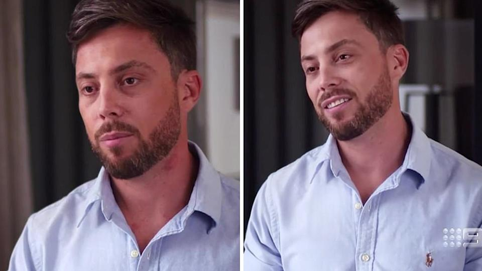 A side-by-side comparison of two photos of Jason Engler on Married At First Sight. The left photo shows a red mark on his neck. The right photo does not show the red mark.