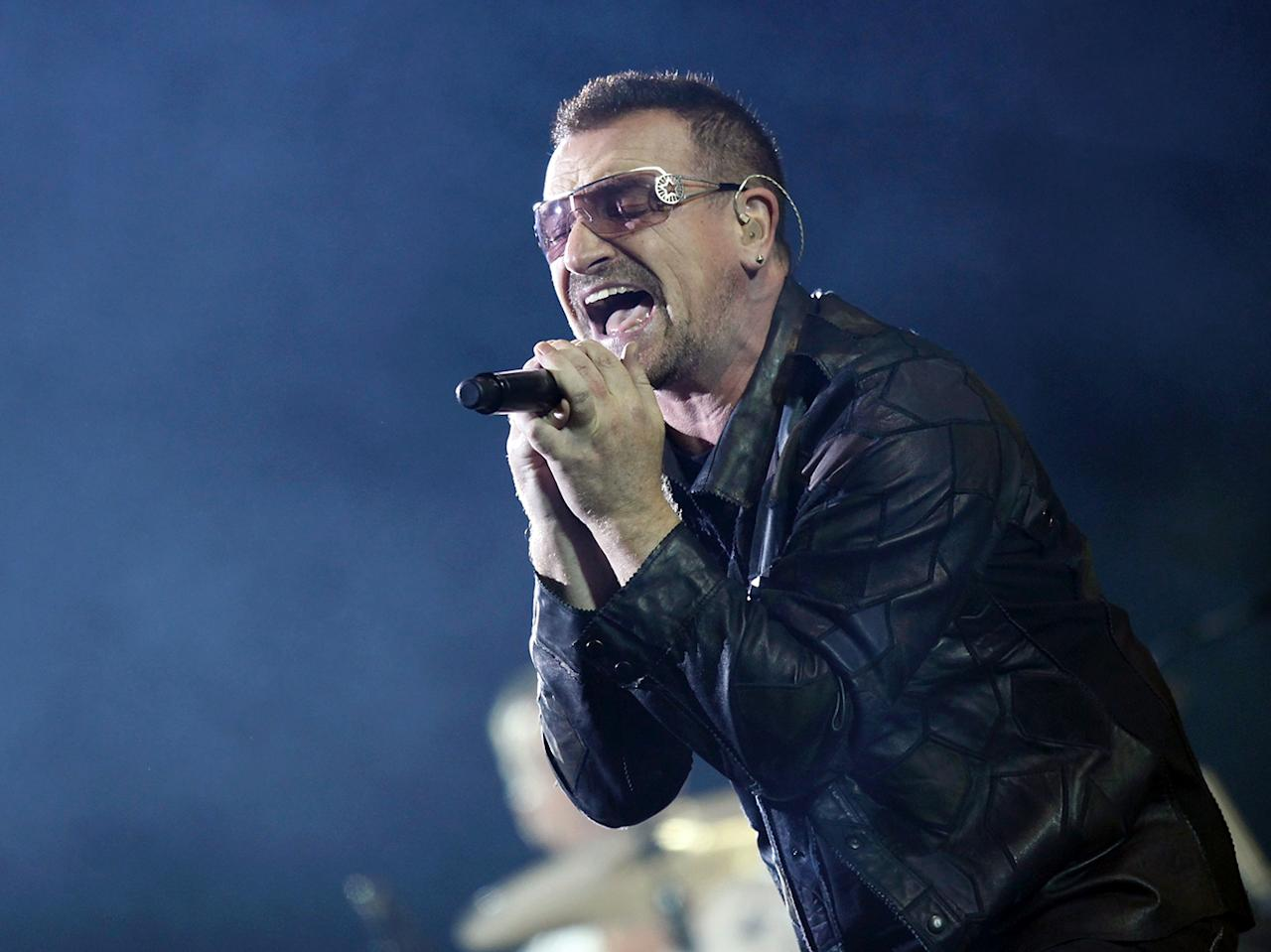 Bono U2 took the halftime stage in 2002. The real name of lead singer Bono is Paul David Hewson.