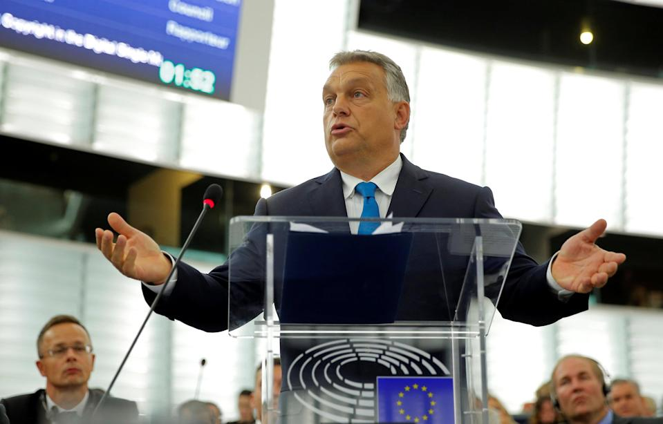 Hungarian prime minister Viktor Orban defending his government ahead of the sanctions vote in the European Parliament (Reuters)