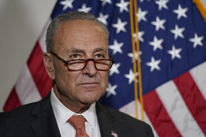Senate Majority Leader Chuck Schumer of N.Y., talks with reporters on Capitol Hill in Washington, Tuesday, June 8, 2021.