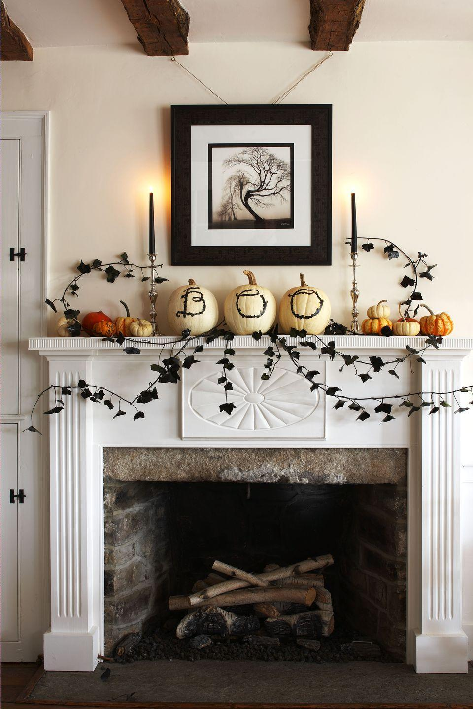 """<p>Celebrate Halloween with a display of pumpkins in a range of sizes. Dress them up with Halloween-appropriate words (""""Boo"""" is a no-brainer) to make more of an impact. </p>"""