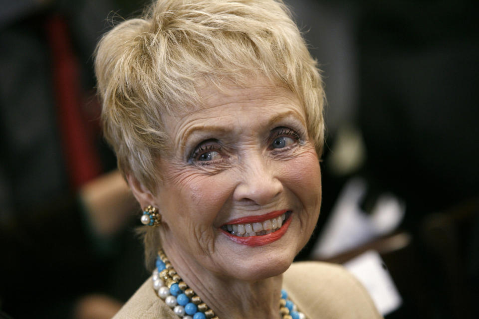 """FILE - In this Tuesday March 13, 2007 file photo, Jane Powell, 77, an actress who sang and danced with among others, Fred Astaire, attends a House Appropriations subcommittee hearing on the importance of public investing in the arts, in Washington. Jane Powell, the bright-eyed, col soprano star of Hollywood's golden age musicals who sang with Howard Keel in """"Seven Brides for Seven Brothers"""" and danced with Fred Astaire in """"Royal Wedding,"""" has died, Thursday, Sept. 16, 2021. She was 92. (AP Photo/Jacquelyn Martin, File)"""