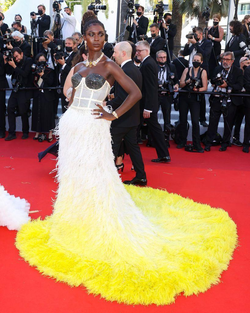 <p>The Brit wore a custom-made Gucci gown to the film festival's screening. </p>