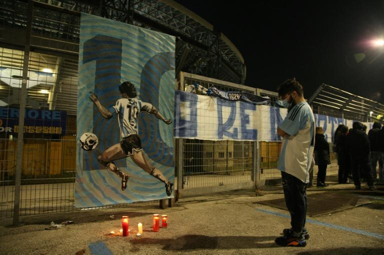 Tributes are paid to Maradona outside Napoli's San Paolo stadium on Wednesday after the death of the Argentine great