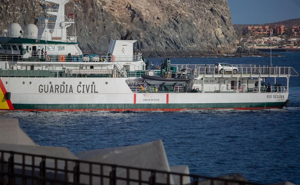 A Spanish Civil Guard vessel is seen in Arona, on the Spanish Canary island of Tenerife on April 27, 2021.  (AFP via Getty Images)