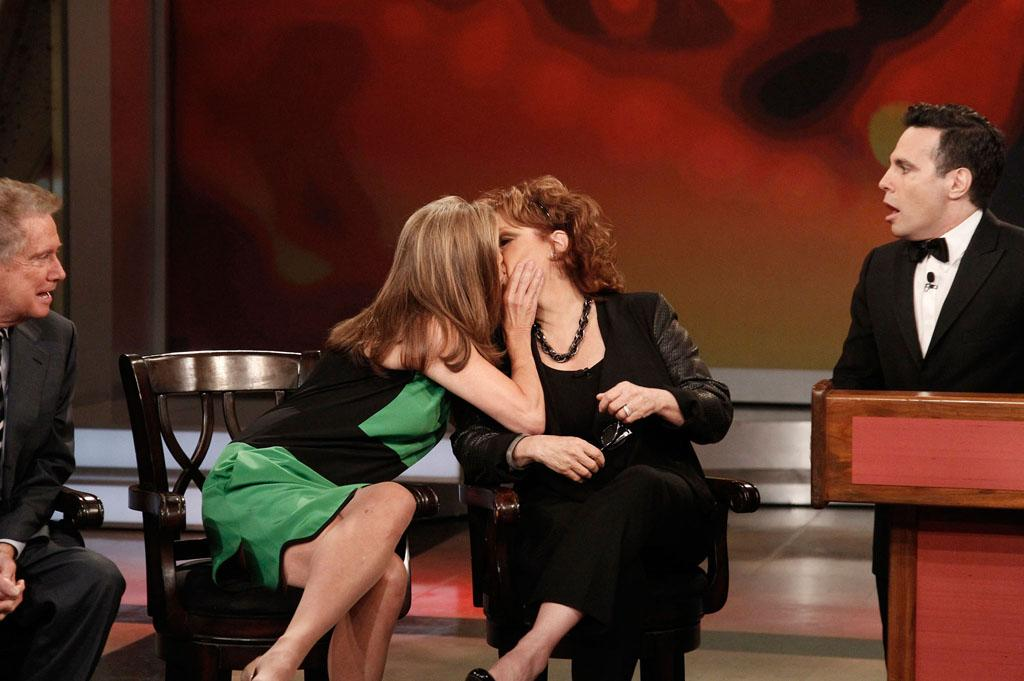 "Regis Philbin, Meredith Vieira, Joy Behar, and Mario Cantone on Joy's final episode as co-host of ABC's ""The View"" on Friday, August 9, 2013."