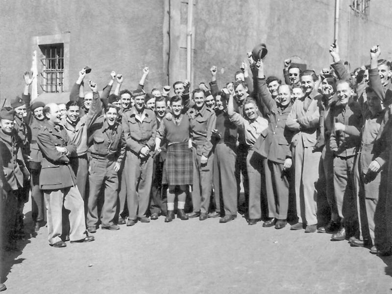 A group of British officers freed from Colditz in 1945 (AP)