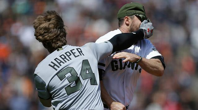 "<p>Major League Baseball suspended Washington Nationals outfielder Bryce Harper for four games for charging the mound after being hit by a pitch in Monday's game against the San Francisco Giants. He was also issued an undisclosed fine.</p><p>Harper was at-bat in the eighth inning when he was drilled in the hip with a 98 mile per hour fastball by Giants reliever Hunter Strickland. Strickland received a six-game suspension and an undisclosed fine.</p><p>Harper then charged the mound and threw his helmet at Strickland inciting a benches–clearing brawl. Harper and Strickland were ejected from the game, which the NL East–leading Nationals went on to win 3-0.</p><p>This is the second time Harper has been suspended in his major league career.</p><p>Last season, Harper was suspended for one game after he yelled at a home plate umpire from the dugout after a teammate struck out during a May game against the Detroit Tigers. After Washington won the game in walk-off fashion, Harper returned to the field to celebrate with his teammates and to curse out the umpire.</p><p>The bad blood between the Harper and Strickland goes back nearly three years, when Harper homered twice of Strickland in 2014 National League Division Series between the teams. The Giants won that series three games to one and went on to win their third World Series in six seasons.</p><p>Harper says he didn't like being hit, but respected Strickland for not throwing at his face.</p><p>""One thing I've got to say about Strickland is he hit me in the right spot, so I do respect him for that,"" Harper said. ""He didn't come up and in toward my face like some guys do, so I respect him on that level.""</p><p>Harper leads the National League in home runs and runs scored. He is hitting .337 with 41 RBI this season and leads all NL players in <a href=""http://m.mlb.com/news/article/233284850/national-league-all-star-voting-update/"" rel=""nofollow noopener"" target=""_blank"" data-ylk=""slk:All-Star voting"" class=""link rapid-noclick-resp"">All-Star voting</a> after the first update. </p><p>After this three–game series, the teams don't meet against until Aug. 11 in Washington.</p>"