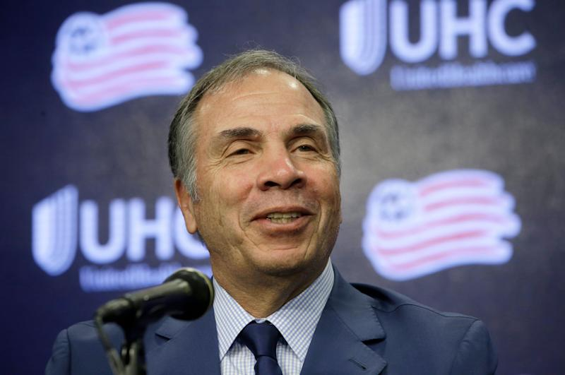 Bruce Arena, newly hired New England Revolution's coach and sports director takes questions from reporters, Thursday, May 16, 2019 during an MLS soccer news conference at Gillette Stadium, in Foxborough, Mass. Arena, a five-time MLS Cup winner and former U.S. national coach, was hired Tuesday, May 14. (AP Photo/Steven Senne)