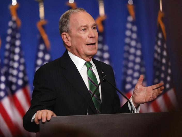 Former Democratic presidential candidate Mike Bloomberg addresses his staff and the media after announcing that he will be ending his campaign on 4 March 2020 in New York City: (2020 Getty Images)