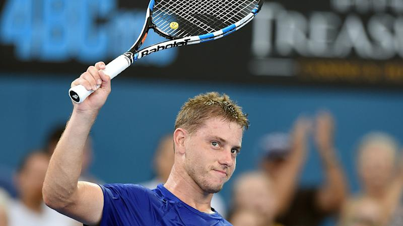 James Duckworth (pic) will play the first quarterfinal of his ATP Tour career against Roger Federer.