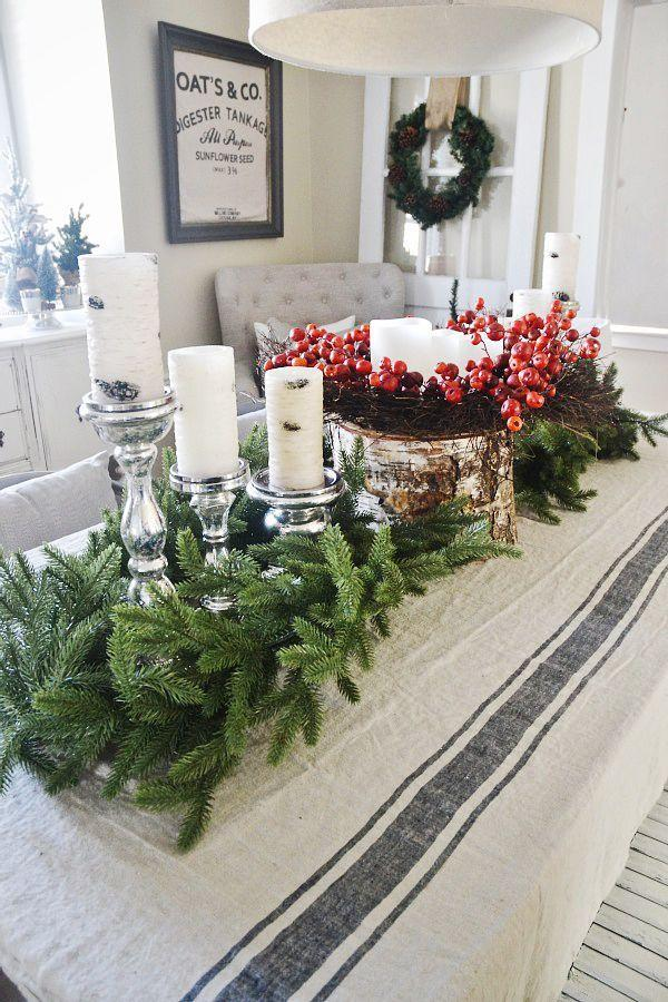 """<p>Save money and make a large table feel full by arranging a variety of pieces foraged from the outdoors like a cut tree branch, bunches of fresh pine, and vibrant winter berries.</p><p><strong>Get the tutorial at <a href=""""https://www.lizmarieblog.com/2014/11/simple-rustic-christmas-dining-room-decor/"""" rel=""""nofollow noopener"""" target=""""_blank"""" data-ylk=""""slk:Liz Marie Blog"""" class=""""link rapid-noclick-resp"""">Liz Marie Blog</a>.</strong></p><p><strong><a href=""""https://www.amazon.com/Fantastic-Craft-Berry-Wreath-22-Inch/dp/B00NNVUYMW/"""" rel=""""nofollow noopener"""" target=""""_blank"""" data-ylk=""""slk:SHOP RED BERRY WREATHS"""" class=""""link rapid-noclick-resp"""">SHOP RED BERRY WREATHS</a><br></strong></p>"""