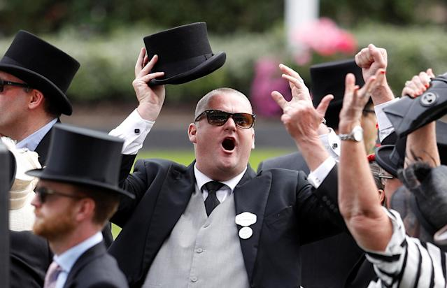Horse Racing - Royal Ascot - Ascot Racecourse, Ascot, Britain - June 23, 2018 Racegoers react during the 4.20 Diamond Jubilee Stakes at Ascot Racecourse REUTERS/Peter Nicholls