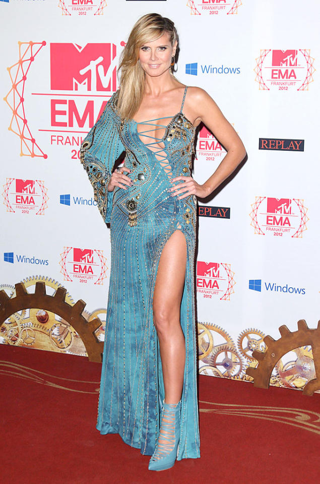 FRANKFURT AM MAIN, GERMANY - NOVEMBER 11:  Heidi Klum attends the MTV EMA's 2012 at Festhalle Frankfurt on November 11, 2012 in Frankfurt am Main, Germany.  (Photo by Mike Marsland/WireImage)