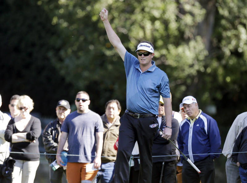 Charlie Beljan reacts to a putt on the first hole in the final round of the Northern Trust Open golf tournament at Riviera Country Club in the Pacific Palisades area of Los Angeles Sunday, Feb. 17, 2013. (AP Photo/Reed Saxon)