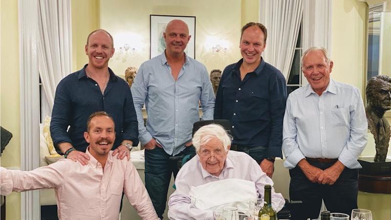 Sir Jack with his son-in-law and grandsons in 2020