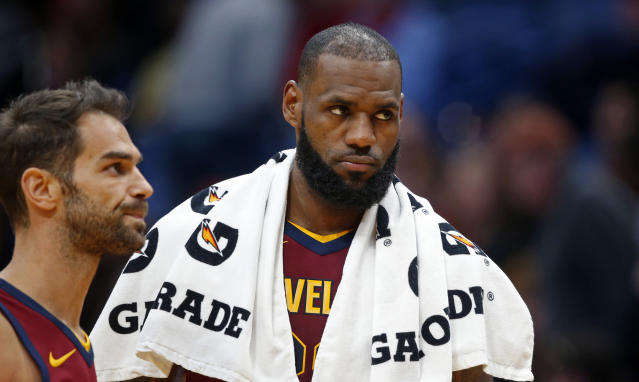 "<a class=""link rapid-noclick-resp"" href=""/nba/players/3704/"" data-ylk=""slk:LeBron James"">LeBron James</a> is out of shape, I guess. (AP)"