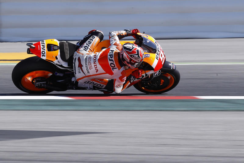 File photo shows Spanish rider Marc Marquez during the Moto GP third free practice session of the Catalunya Grand Prix at the Montmelo racetrack, near Barcelona, on June 14, 2014