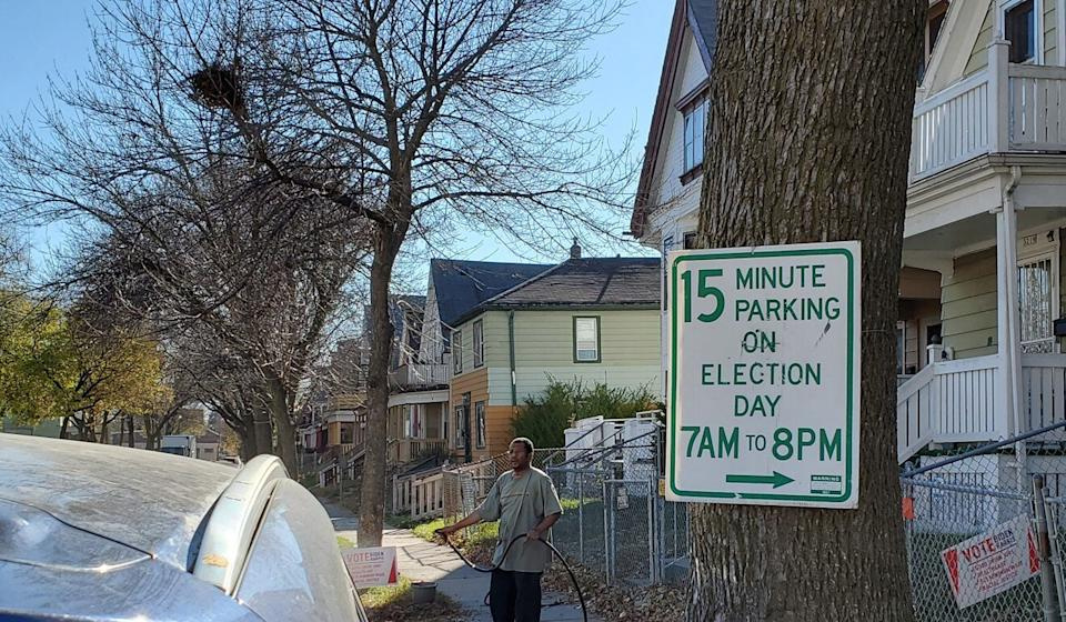 Residents voting in Milwaukee's Ward 117 polling location say they see little risk of violence in their area but worry that Trump supporters west of the city could stir up trouble. Photo: Mark Magnier