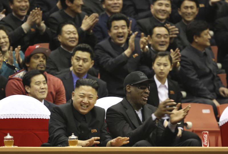 "FILE - In this Thursday, Feb. 28, 2013 file photo released by VICE Media, North Korean leader Kim Jong Un, left, and former NBA star Dennis Rodman watch North Korean and U.S. players in an exhibition basketball game at an arena in Pyongyang, North Korea. Rodman is tapping his friendship with Kim Jong Un to call for the release of a Korean-American man detained in the North. In a tweet on Wednesday, May 8, 2013, Rodman called on Kim ""to do me a solid and cut Kenneth Bae loose."" (AP Photo/VICE Media, Jason Mojica, File)"