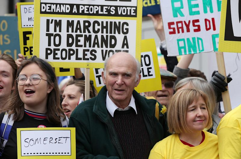 Vince Cable, centre, on a People's Vote march in London last month (PA)