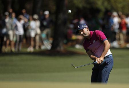 Sergio Garcia of Spain watches his ball in third round play during the 2017 Masters golf tournament at Augusta National Golf Club in Augusta, Georgia, U.S., April 8, 2017. REUTERS/Brian Snyder