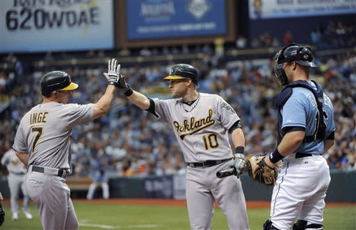 Inge hits 1st HR for Oakland as A's beat Rays 9-5