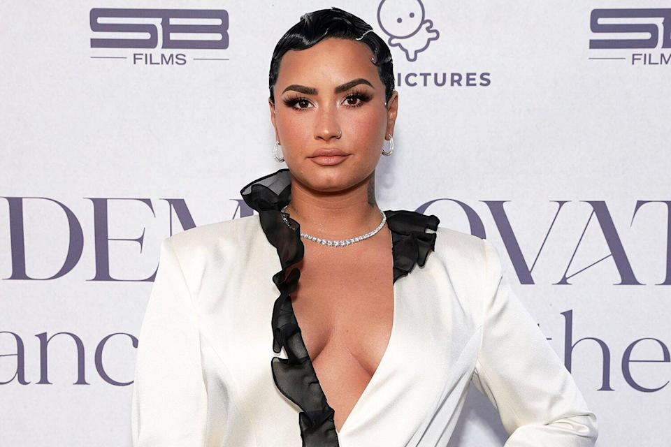 """Demi Lovato attends the OBB Premiere Event for YouTube Originals Docuseries """"Demi Lovato: Dancing With The Devil"""" at The Beverly Hilton on March 22, 2021 in Beverly Hills, California."""