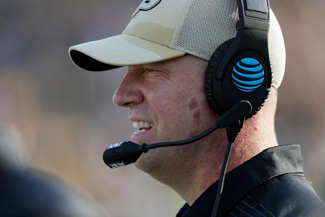 Jeff Brohm has Purdue off to an impressive 2-1 start with Michigan coming to town. (Jamie Squire/Getty Images)