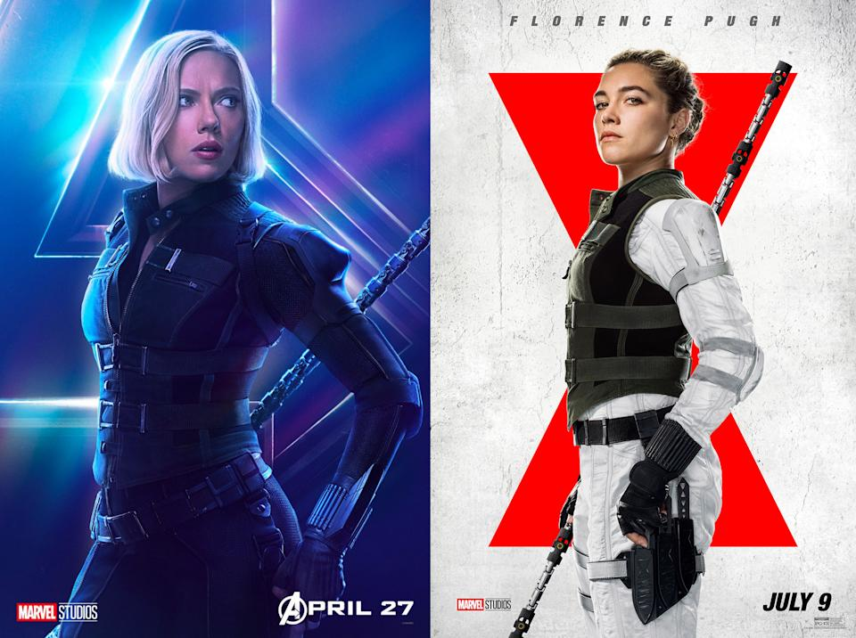 The 'green vest' as worn by Scarlett in Avengers: Infinity War (left) and by Florence in Black Widow (right) (Marvel Studios)