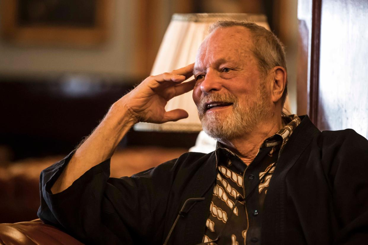 British film director Terry Gilliam speaks with reporters during an interview on the sidelines of the 41st edition of the Cairo International Film Festival (CIFF) at a hotel in the centre of the Egyptian capital Cairo on November 22, 2019. (Photo by Khaled DESOUKI / AFP) (Photo by KHALED DESOUKI/AFP via Getty Images)