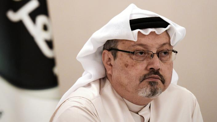 A general manager of Alarab TV, Jamal Khashoggi, looks on during a press conference in the Bahraini capital Manama, on December 15, 2014. (Mohammed Al-Shaikh/AFP via Getty Images)