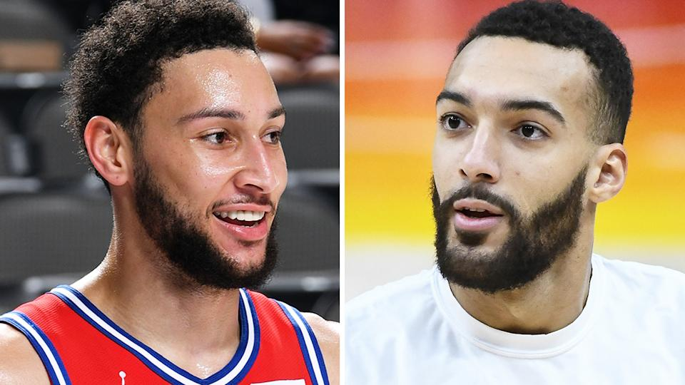 Ben Simmons says he deserves the NBA's Defensive Player of the Year award over Utah Jazz rival Rudy Gobert. Pictures: Getty Images