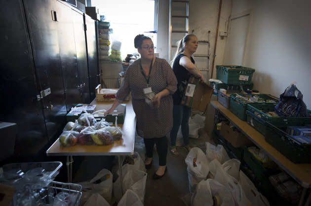 Volunteers at the Orchard food bank in Garston, Liverpool.