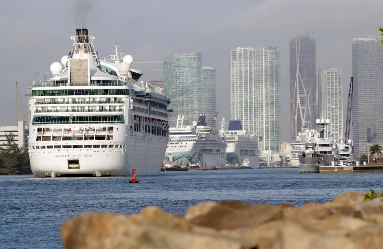 Royal Caribbean's Grandeur of the Seas comes into the Port of Miami, Monday, Feb. 5, 2018, in Miami Beach, Fla. (AP Photo/Lynne Sladky)