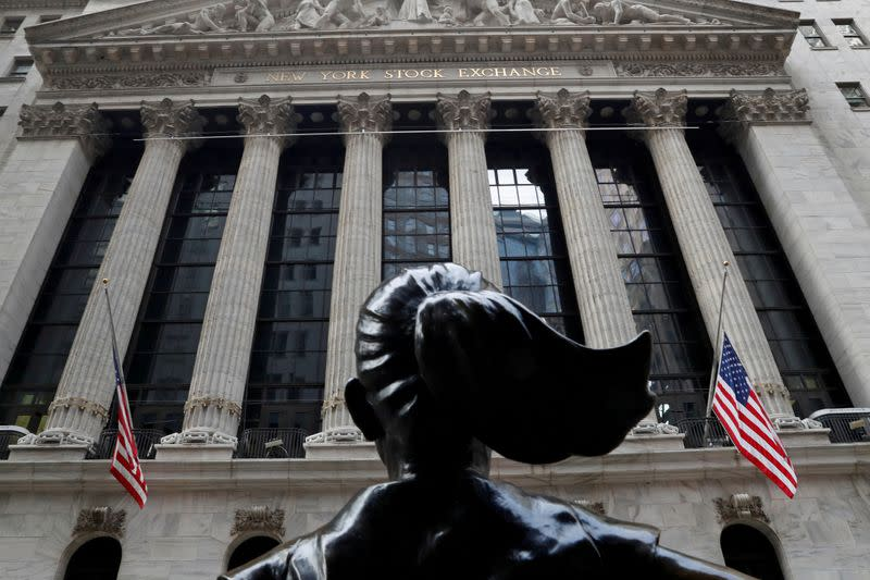 FILE PHOTO: The New York Stock Exchange (NYSE) is seen in the financial district of New York