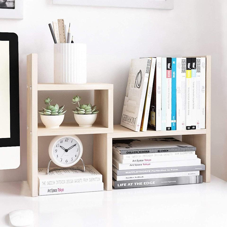 <p>This <span>Jerry &amp; Maggie Desktop Organizer </span> ($26) can be adjusted to fit your space just right.</p>