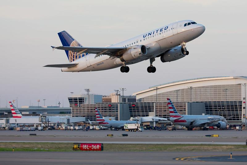 A United Airlines Airbus A319 breaks up the American Airlines monopoly on Dallas Ft. Worth International Airport in April, 2019.
