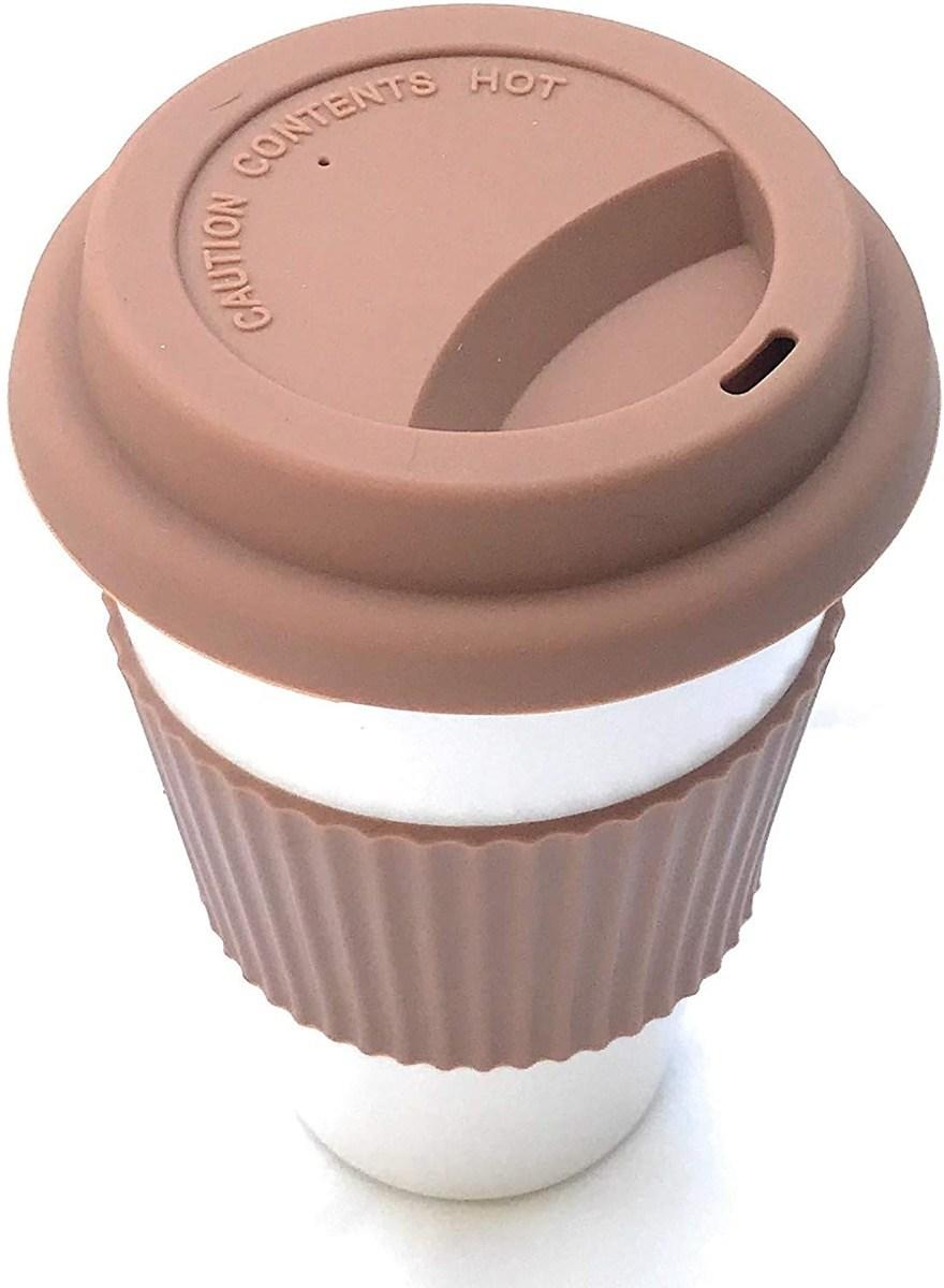 reusable coffee cup with brown lid and sleeve