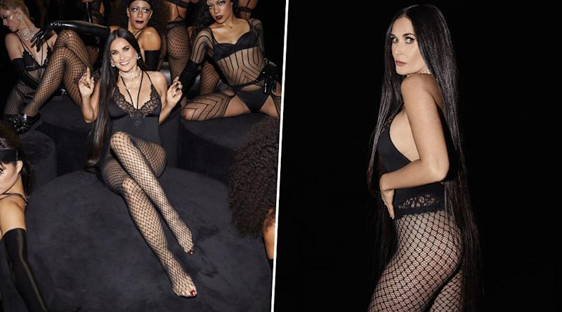 Demi Moore Sizzled Rihanna's Savage X Fenty Show Defying Age at 57 in Black Lacy Lingerie with Mesh Stockings and Fans Cannot Stop Drooling!