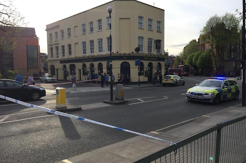 Police tape: The scene of the incident in west London: Twitter/@Mike_de_S