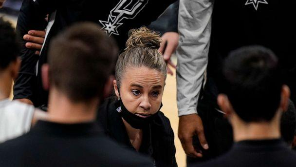 PHOTO: San Antonio Spurs assistant coach Becky Hammon calls a play during a timeout in the second half of the team's NBA basketball game against the Los Angeles Lakers, after coach Gregg Popovich was ejected, Dec. 30, 2020, in San Antonio. (Eric Gay/AP)