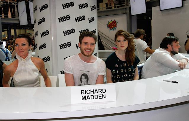 "Michelle Fairley, Richard Madden, Rose Leslie and John Bradley attend HBO's ""Game of Thrones"" cast autograph signing at San Diego Convention Center on July 19, 2013 in San Diego, California."