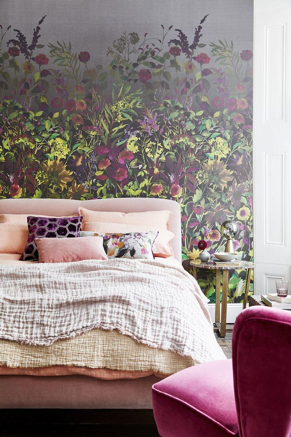 <p>A peel-and-stick wall covering, like this stunning floral design, is all you need to transform your bedroom into an inviting retreat. </p>